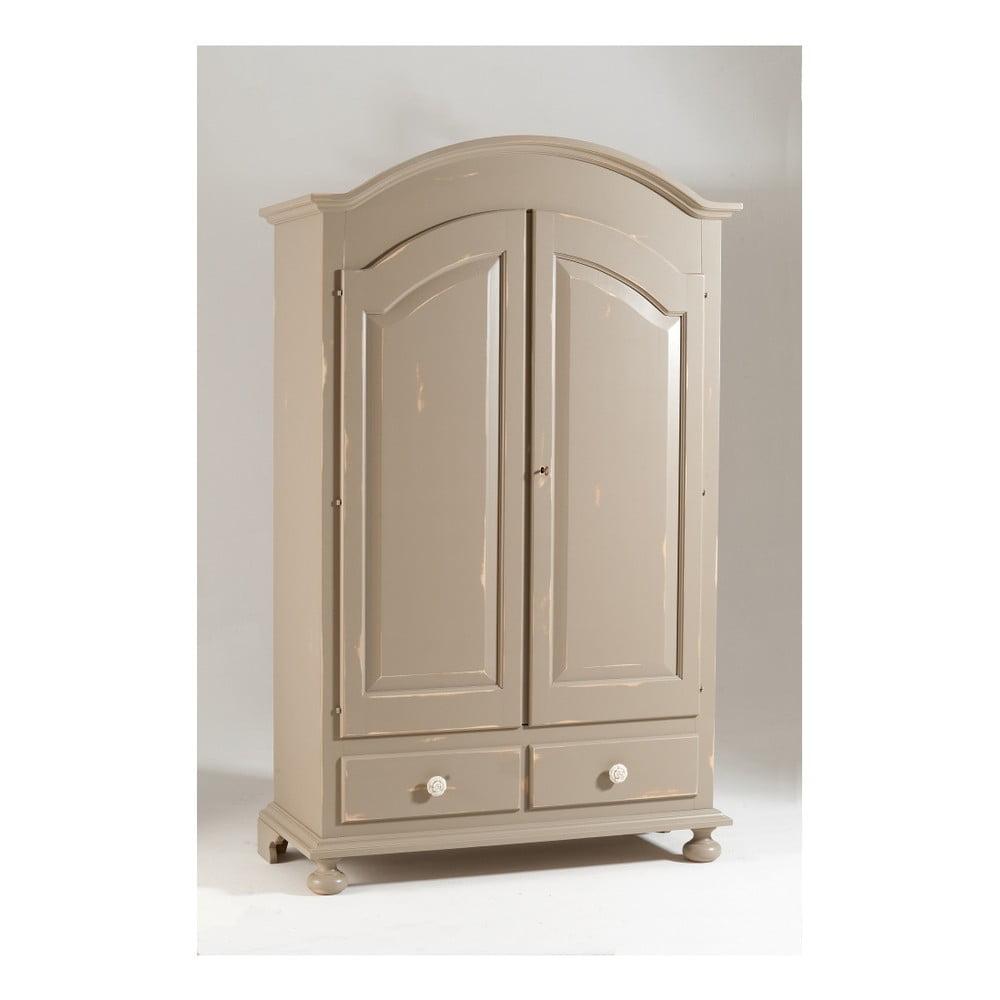 Béžová dvoudveřová dřevěná šatní skříň Castagnetti Nadine
