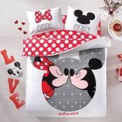 Lenjerie de pat și cearșaf pentru pat dublu TAC Mickey&Minnie, 200x220cm