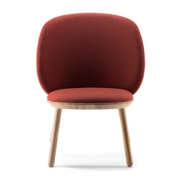 Naïve konyak barna fotel kőrisfa konstrukcióval és bőr részletekkel - EMKO
