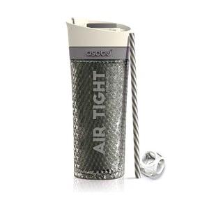 Šedá termolahev Asobu Pump & Chill, 500 ml