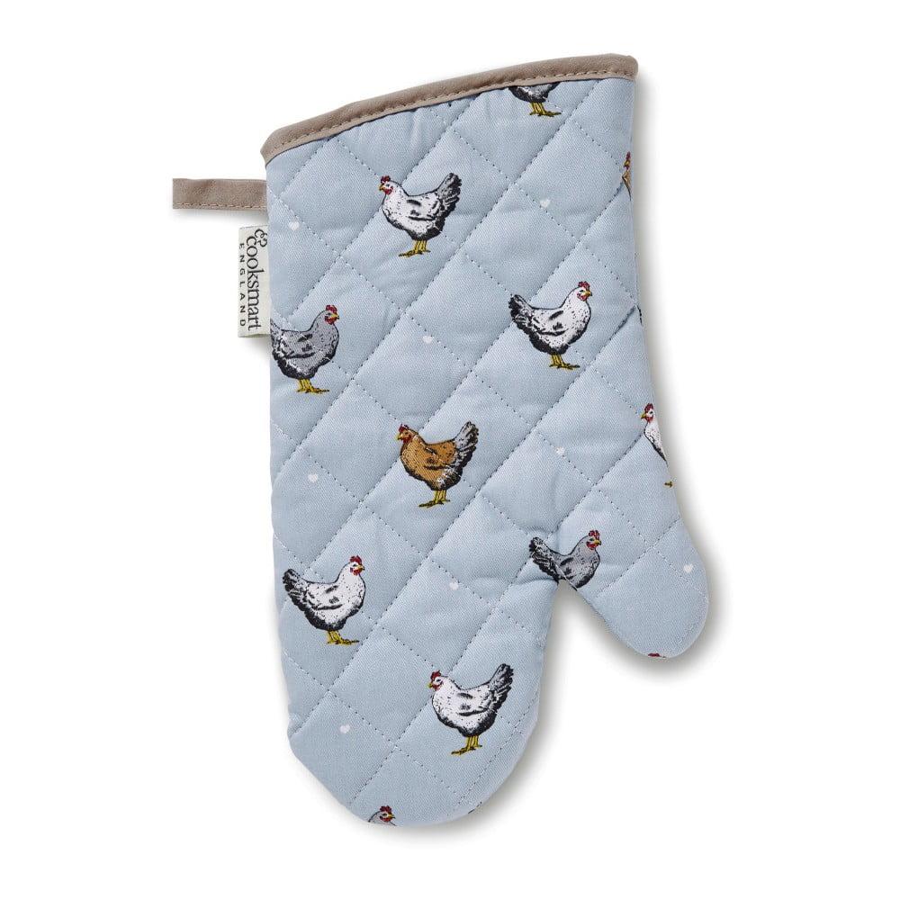 Modrá bavlněná rukavice do kuchyně Cooksmart ® Farmers, délka 31 cm