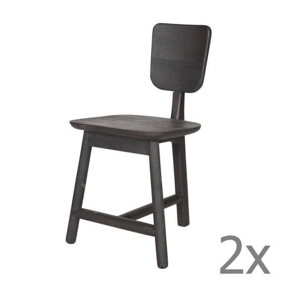 Sada 2 dřevěných židlí Roost Black