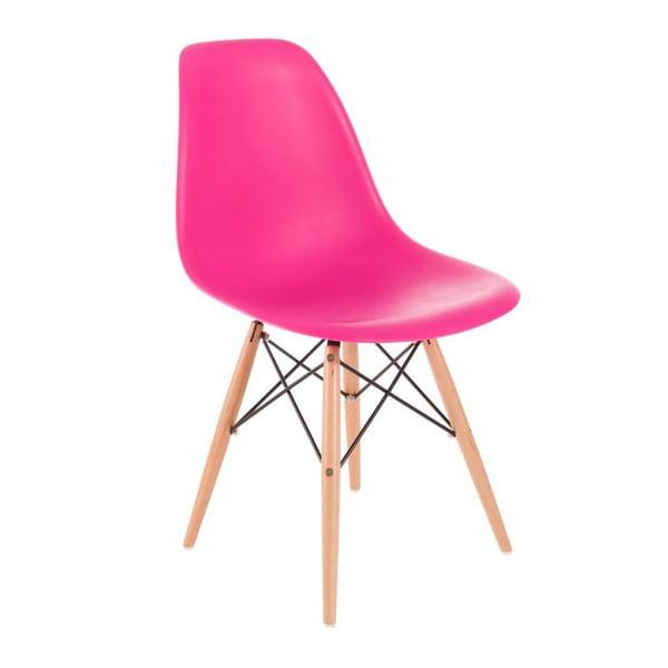 Růžová židle D2, dřevěné nohy