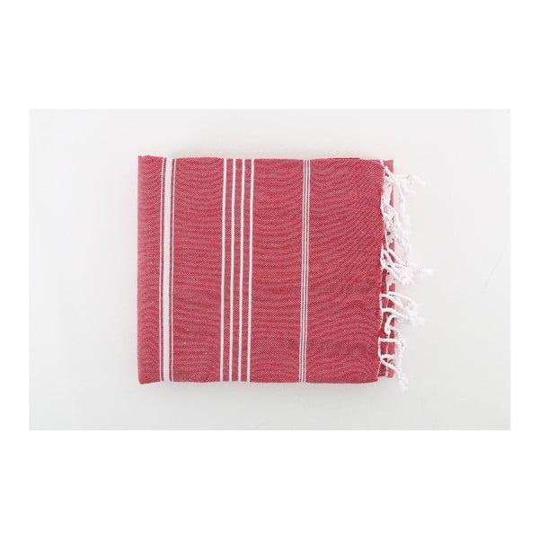 Červená bavlněná osuška Hammam Sultan, 100x180 cm