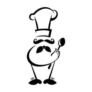 Černá nástěnná samolepka LineArtistica Master Chef, 30 x 60 cm