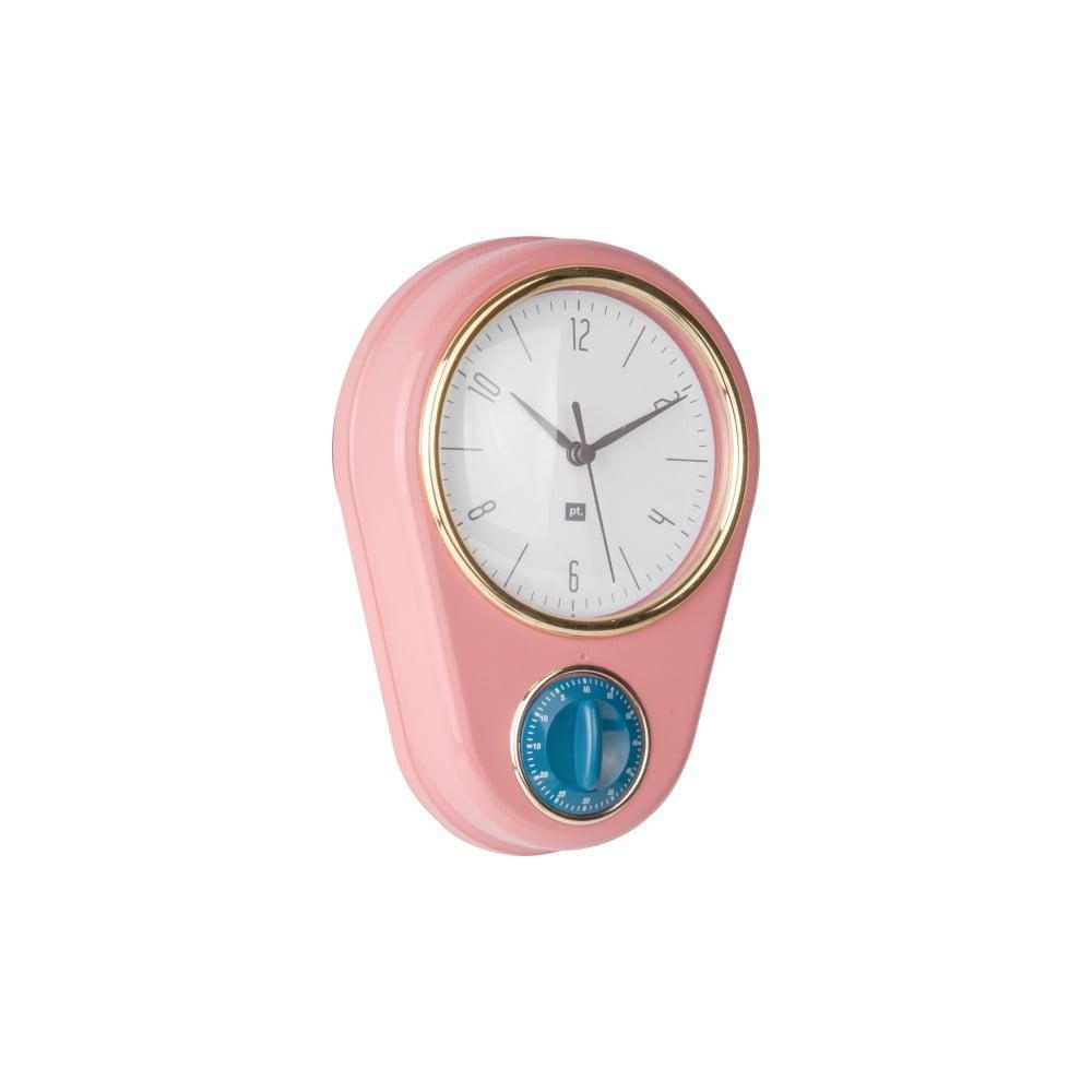 Růžové nástěnné hodiny s kuchyňskou minutkou PT LIVING