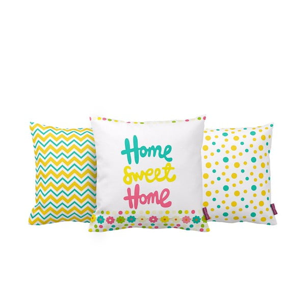 Set 3 polštářů Home Sweet Home, 43x43 cm