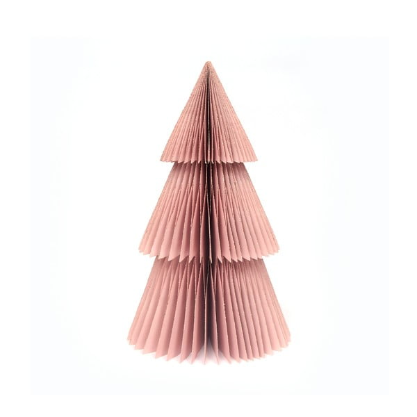 Błyszcząca różowa papierowa ozdoba świąteczna w kształcie choinki Only Natural, wys. 22,5 cm