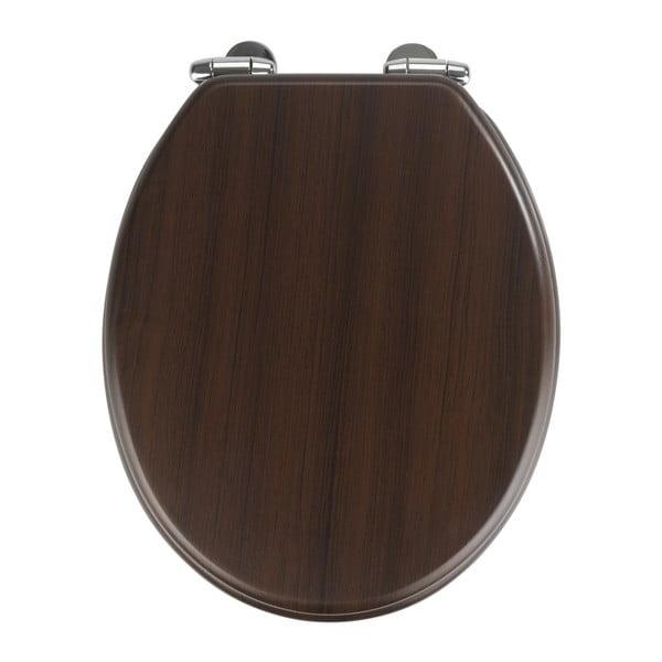 Tmavé WC sedátko a snadným zavíráním Wenko Wenge, 43 x 37 cm