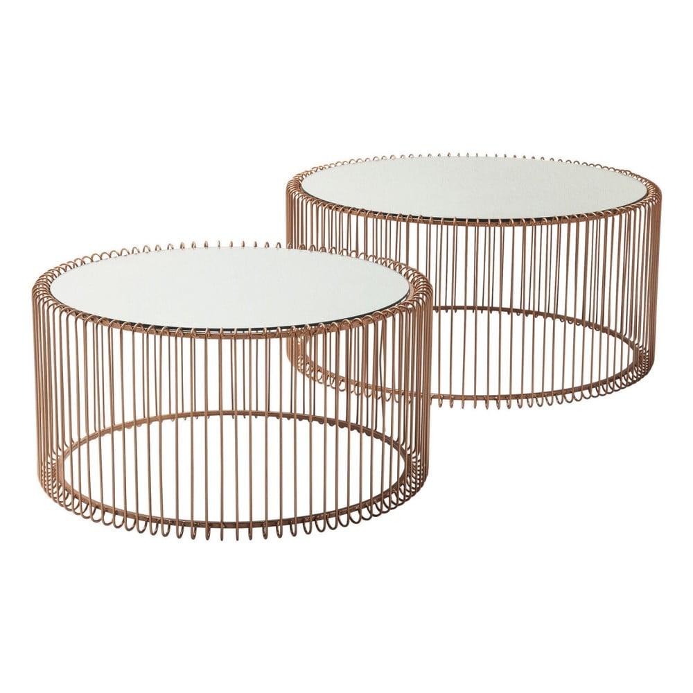 Sada 2 odkládacích stolků v dekoru mědi Kare Design Wire Big