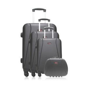 Set 3 černých cestovních kufrů na kolečkách a kufříku Hero Travel