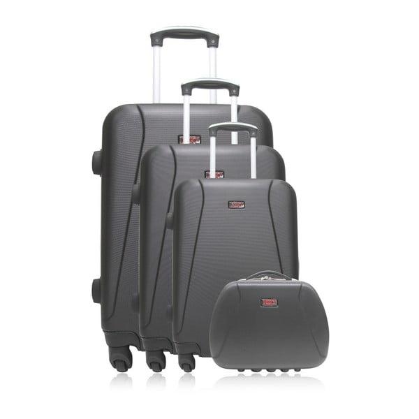 Komplet 3 czarnych walizek na kółkach i kuferka na kosmetyki Hero Lanzarote-C