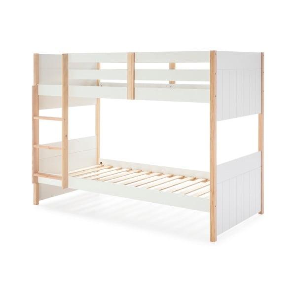 Białe łóżko piętrowe dla dzieci z nogami z drewna sosnowego Marckeric Kiara