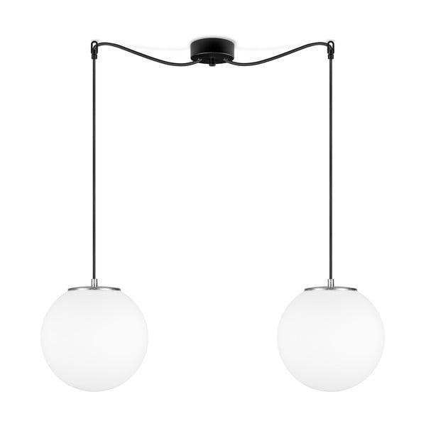 Biele závesné svietidlo s 2 tienidlami a objímkou v striebornej farbe Sotto Luce TSUKI M