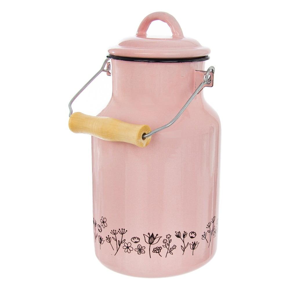 Růžová smaltovaná konvice na mléko Orion Meadow, 2 l