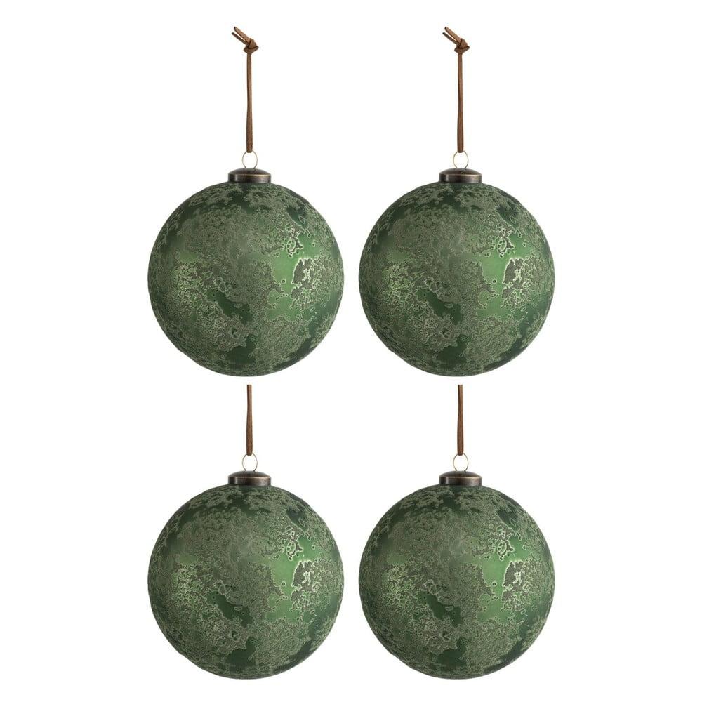 Sada 4 zelených vánočních ozdob J-Line Antique,ø12cm