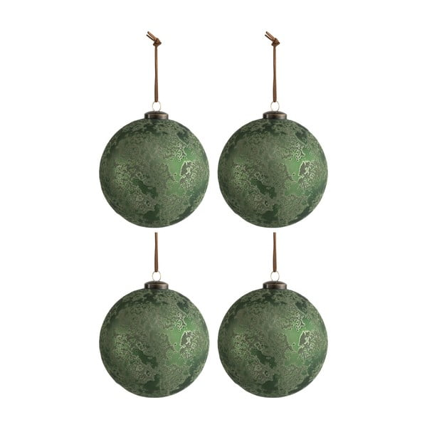 Zestaw 4 zielonych bombek J-Line Antique, ø 12 cm
