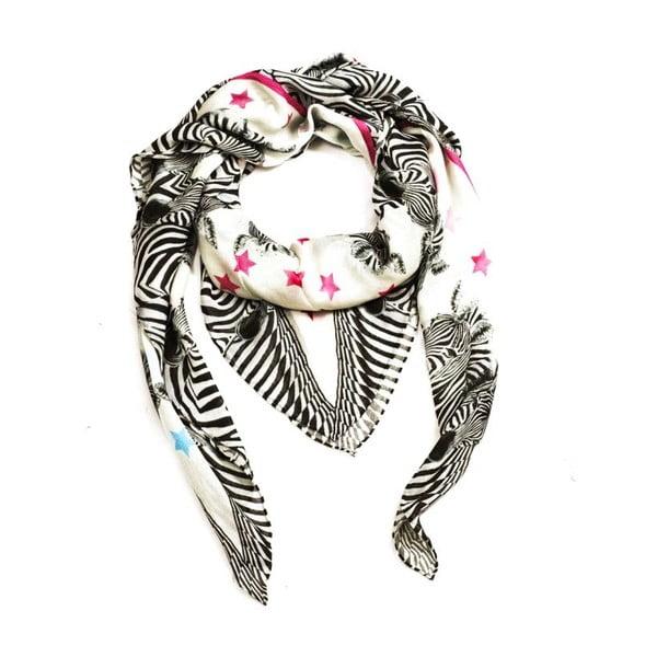 Vlněný šátek s kašmírem Zebra, 130x130 cm