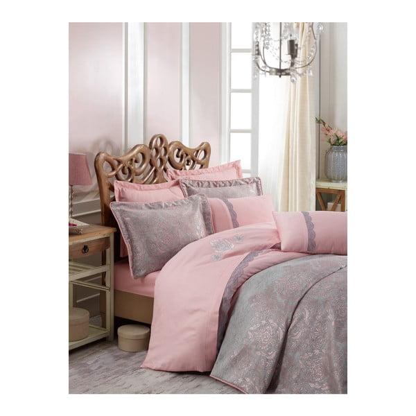 Ružovo-sivá prikrývka cez posteľ na dvojlôžko s obliečkami na vankúše Ornella, 250×260 cm