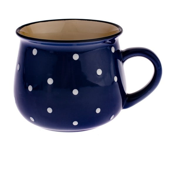 Modrý keramický hrnek s puntíky Dakls Premio, 770ml