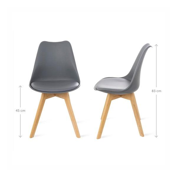 Šedá židle s bukovými nohami loomi.design Retro