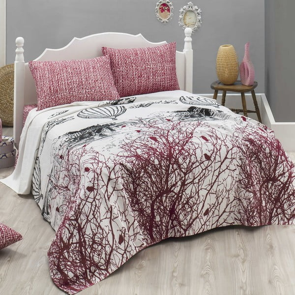 Lekka narzuta z prześcieradłem i poszewkami na poduszki Palvin White, 200x235 cm