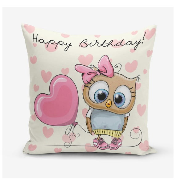 Obliečky na vaknúš s prímesou bavlny Minimalist Cushion Covers Happy Birthday, 45 × 45 cm