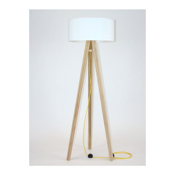 Stojací lampa s bílým stínítkem a žlutým kabelem Ragaba Wanda
