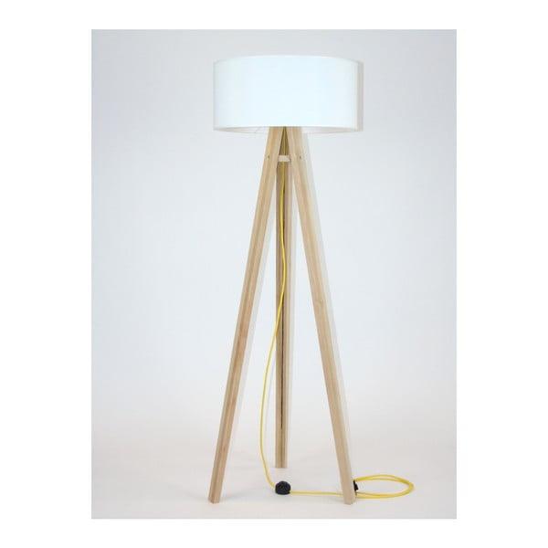 Stojacia lampa s bielym tienidloma žltým káblom Ragaba Wanda