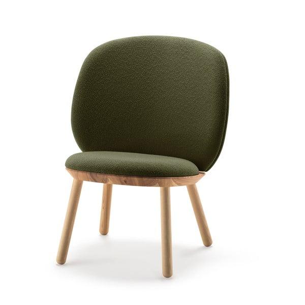 Scaun tapițat din lână EMKO Naïve, verde-natural