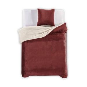 Lenjerie de pat din microfibră DecoKing Teddy, 135 x 200 cm, roșu închis