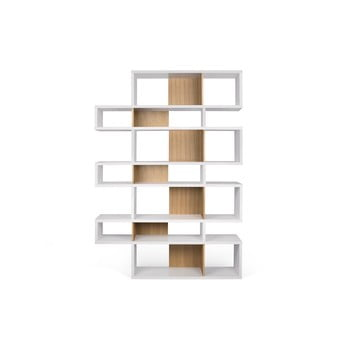 Bibliotecă cu detalii maro deschis TemaHome London, înălțime 220 cm, alb