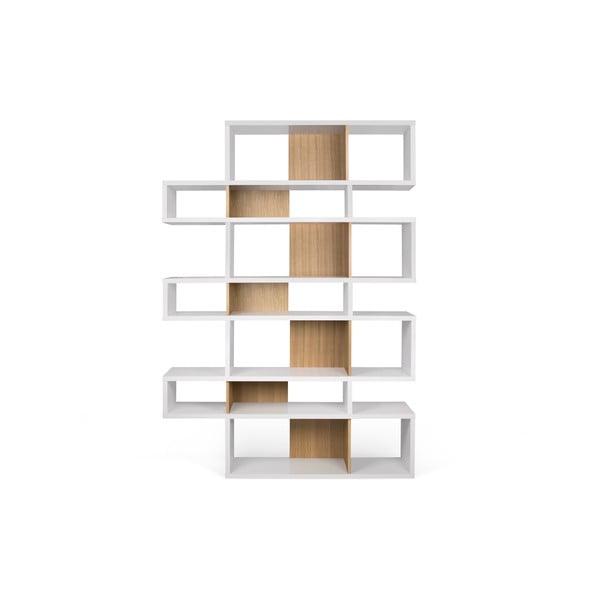 London fehér könyvespolc világosbarna részletekkel, magasság 220 cm - TemaHome
