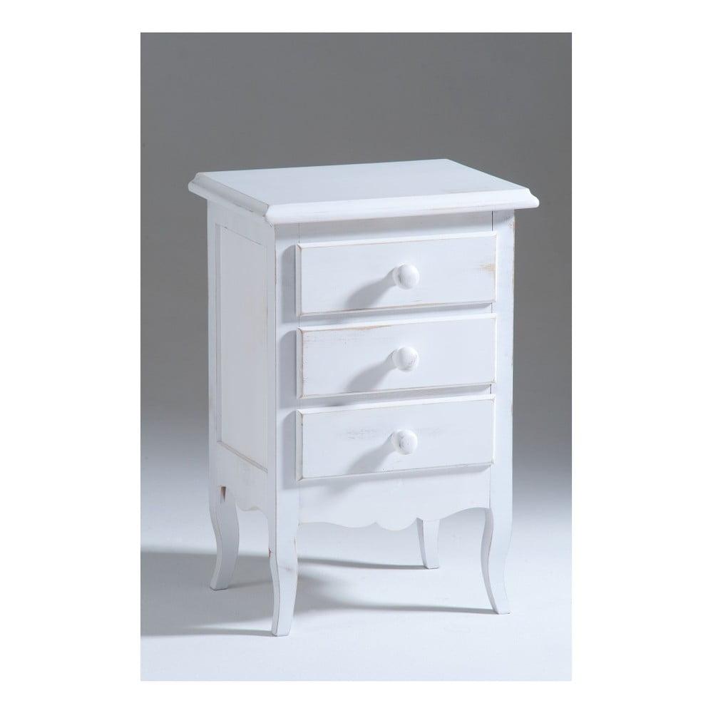Bílý dřevěný noční stolek se 3 zásuvkami Castagnetti Nadine