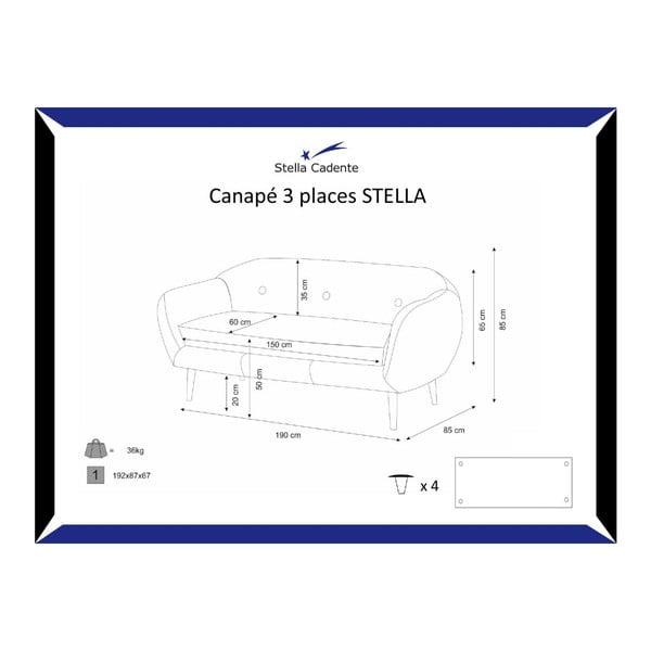 Tyrkysová trojmístná pohovka Stella