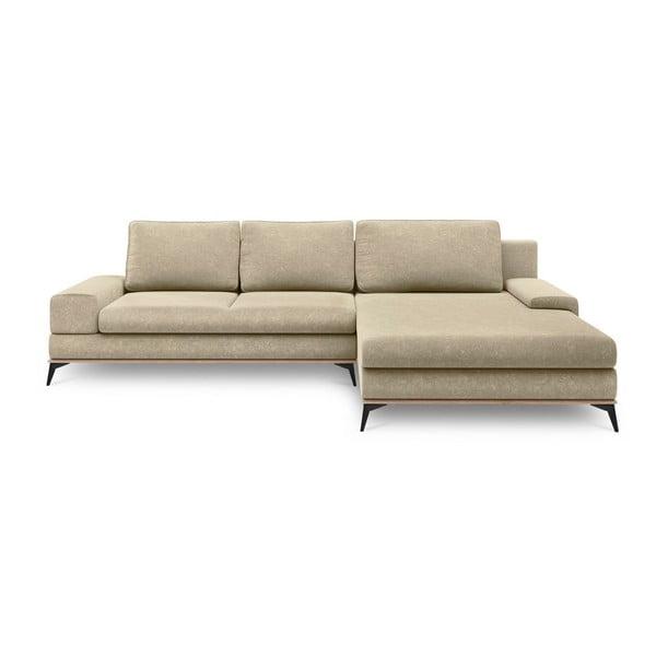 Canapea extensibilă de colț Windsor & Co Sofas Planet, pe partea dreaptă, bej
