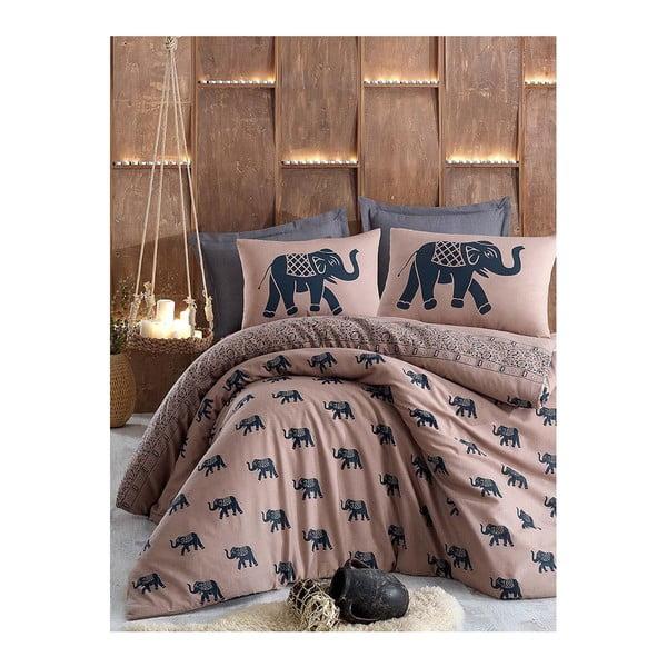 Set lenjerie de pat din bumbac pentru pat de o persoană Ranforce Elephants, 160 x 220 cm
