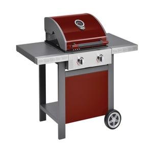 Červený plynový gril se 2 samostatně ovladatelnými hořáky a teploměrem Jamie Oliver BBQ