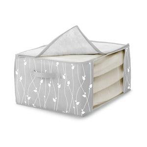 Šedý úložný box na přikrývky Cosatto Leaves, 60x45cm
