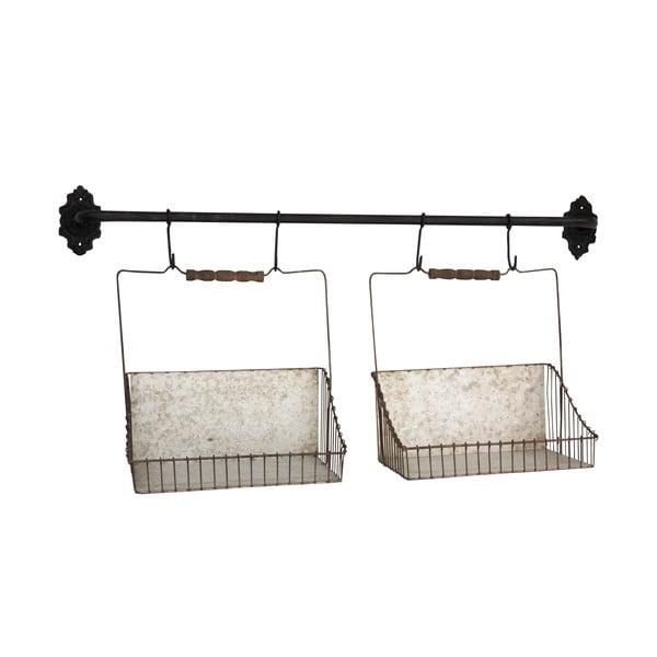 Nástěnný držák se 2 košíky Antic Line Factory Baskets