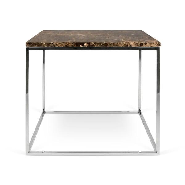 Hnědý mramorový konferenční stolek s chromovými nohami TemaHome Gleam, 50 x 50 cm