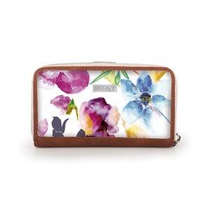 Bílá peněženka s barevnými květy SKPA-T, 16 x 9 cm