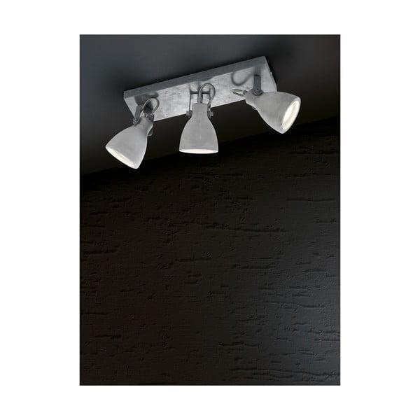 Aplică cu 3 becuri Trio Concrete, lungime 35 cm, gri