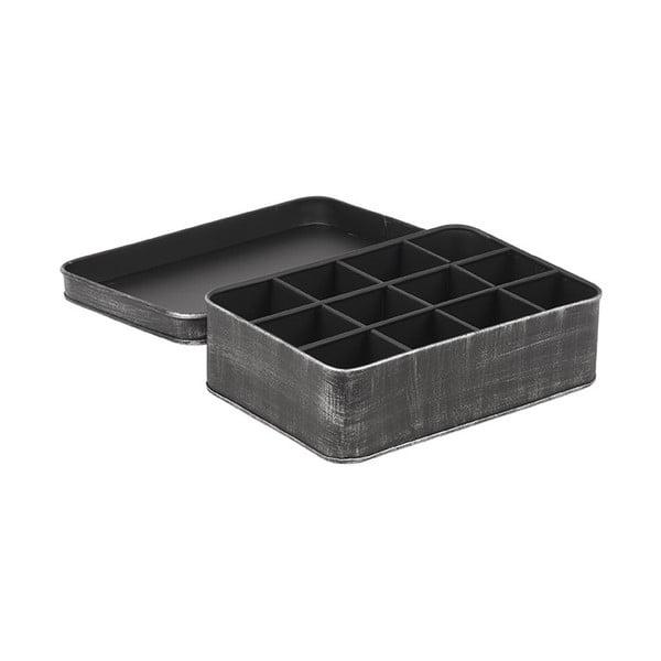 Čierna kovová krabica na čaj LABEL51