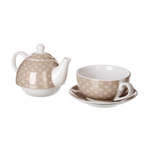 Set béžové porcelánové konvičky a hrnečku Unimasa Tea