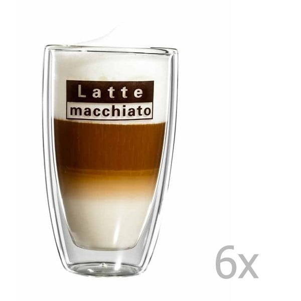 Sada 6 skleněných hrnků s logem na latte macchiato bloomix