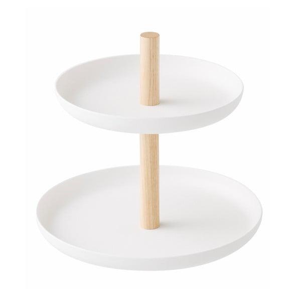 Tosca fehér állvány 2 db tálcával, bükkfa részletekkel - YAMAZAKI