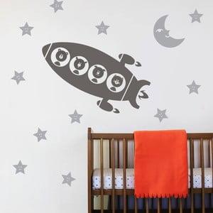 Samolepka na stěnu Raketa a zvířátka, 70x50 cm