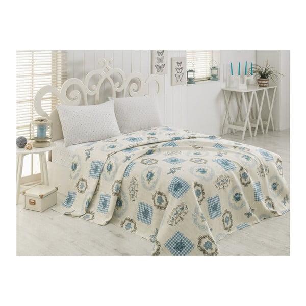 Lehký přehoz přes postel na jednolůžko Pique Emily Turquoise, 160 x 235 cm
