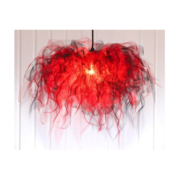 Stropní světlo Ellen Munter vel. M, červené s černým kabelem
